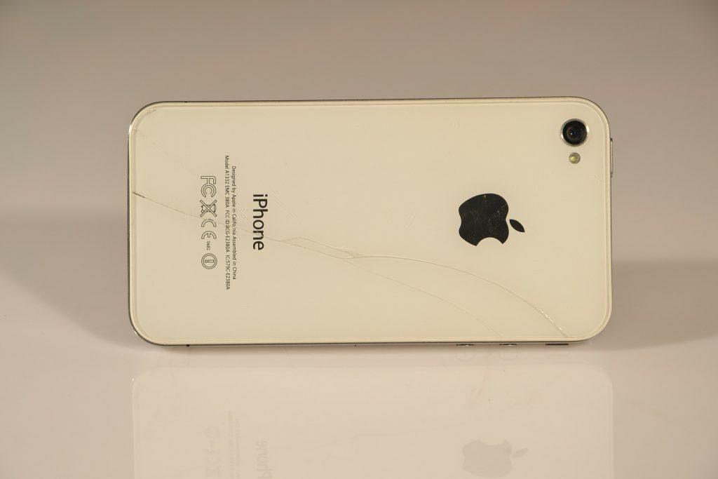 iPhone 4 cracked glass body